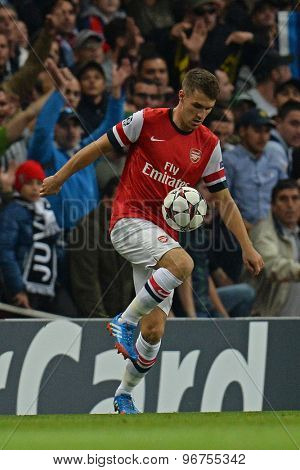 LONDON, ENGLAND - Oct 01 2013: Arsenal's midfielder Aaron Ramsey from Wales  during the UEFA Champions League match between Arsenal and Napoli.