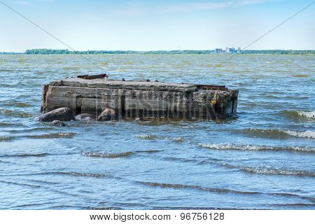 ruined pier in the sea
