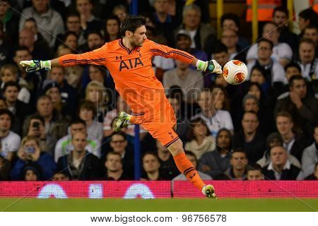 LONDON, ENGLAND - September 19 2013: Tottenham's Hugo Lloris  during the UEFA Europa League match between Tottenham Hotspur and Tromso played at The White Hart Lane Stadium.