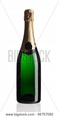 Green champagne bottle