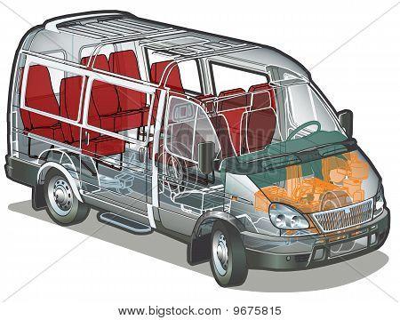 Vector mini bus infographics cutaway