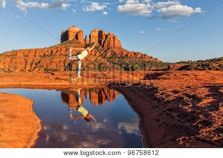 Practicing yoga at Sedona Arizona