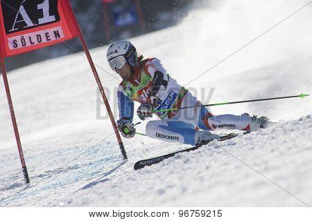 SOELDEN, AUSTRIA Oct 25 2009 VILETTA Sandro (SUI) competing in the mens giant slalom race at the Rettenbach Glacier.