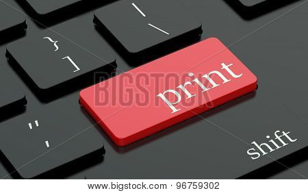 Print Concept, Red Hot Key On Keyboard