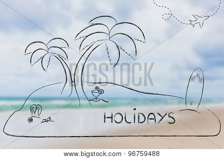 Desert Island With Text Holidays