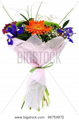 Bouquet Of Gerbera Flowers And Irises