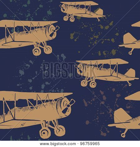 Vintage Seamless Pattern With Airplanes