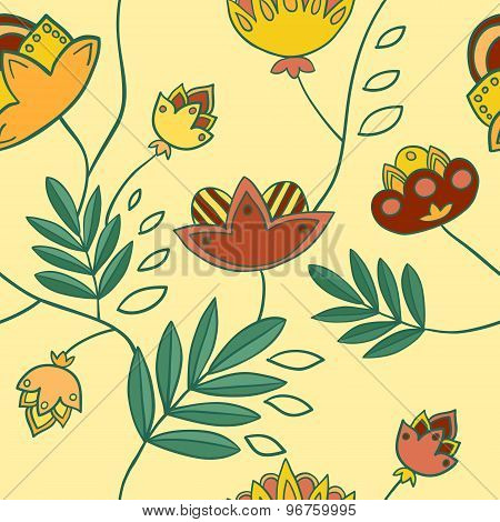 Seamless Pattern With Imaginary Flowers And Plants