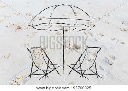 Holidays And Travel: Beach Chairs And Umbrella On Sand