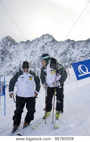 SOELDEN, AUSTRIA Oct 25 2009 Jake Zamanski (USA) prior to competing in the mens giant slalom race at the Rettenbach Glacier.