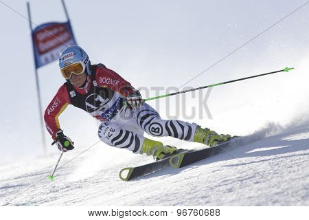 SOELDEN, AUSTRIA Oct 24 2009 HOELZL Kathrin (GER)  competing in the womens giant slalom race at the Rettenbach Glacier.