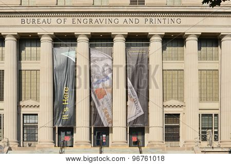 WASHINGTON D.C. - JUNE 26 2014: United States Bureau of Engraving and Printing Building. BEP's main function is to develop and produce United States currency notes, trusted worldwide.
