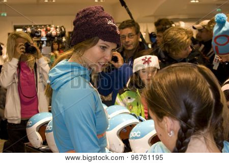 SOELDEN, AUSTRIA Oct 23 2009 Julia Mancuso (USA) at a press conference and autograph signing, prior to the Audi FIS Alpine Ski World Cup