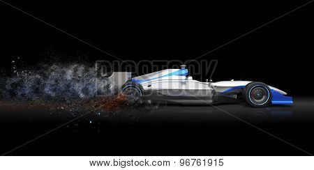 Formula One Car With Trail Of Dust