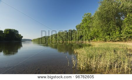 River with Landscape. Blue Sky and Water. River Grass and Trees.