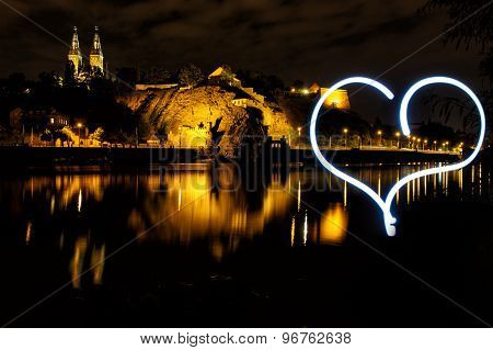 Vysehrad From River Side With With Hearth By Light, Czech Republic, Prague