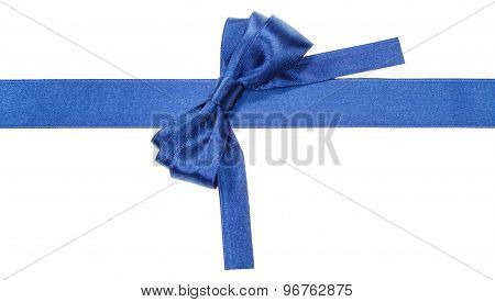 Turned Blue Bow On Ribbon With Square Cut Ends