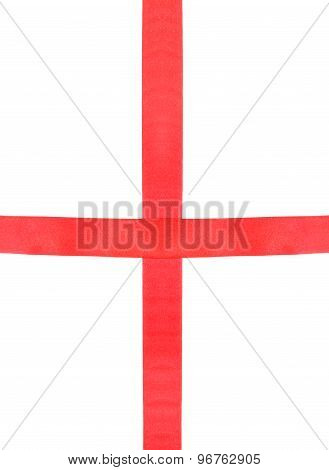 Intersection Of Two Red Silk Ribbons Isolated