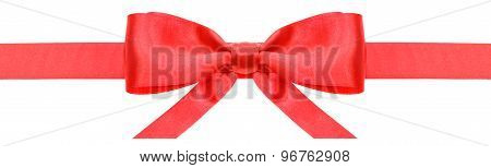 Red Ribbon And Symmetric Bow With Horizontal Ends