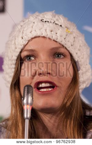 GARMISCH PARTENKIRCHEN, GERMANY. Feb 07 2011: Julia Mancuso the US Ski team at the USSA press conference prior to the 2011 Alpine skiing World Championships