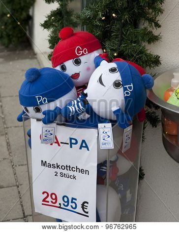 GARMISCH PARTENKIRCHEN, GERMANY. Feb 04 2011: Preview images for the 2011 Alpine skiing World Championships. The GAPA mascots available for purchase
