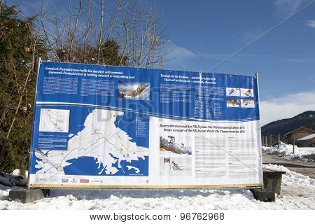 GARMISCH PARTENKIRCHEN, GERMANY. Feb 03 2011: Preview images for the 2011 Alpine skiing World Championships. A general view of one of the many maps in and around the city on the walking trails