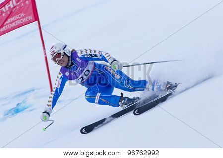 GARMISCH PARTENKIRCHEN, GERMANY. Feb 08 2011: Anja Paerson (SWE) whilst competing in the women's super giant slalom race at the 2011 Alpine skiing World Championships