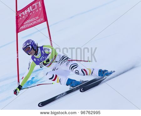 GARMISCH PARTENKIRCHEN, GERMANY. Feb 08 2011: Maria Riesch (GER) whilst competing in the women's super giant slalom race at the 2011 Alpine skiing World Championships