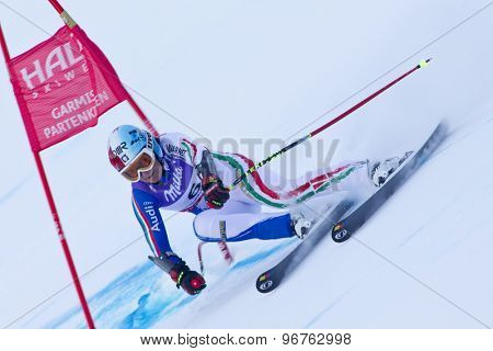 GARMISCH PARTENKIRCHEN, GERMANY. Feb 08 2011: Daniela Merighetti (ITA) whilst competing in the women's super giant slalom race at the 2011 Alpine skiing World Championships