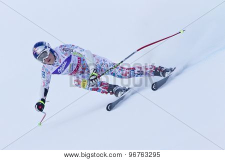 GARMISCH PARTENKIRCHEN, GERMANY. Feb 08 2011: Lindsey Vonn (USA) whilst competing in the women's super giant slalom race at the 2011 Alpine skiing World Championships