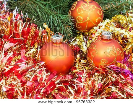 Orange Christmas Balls, Red Tinsel On Xmas Tree 6