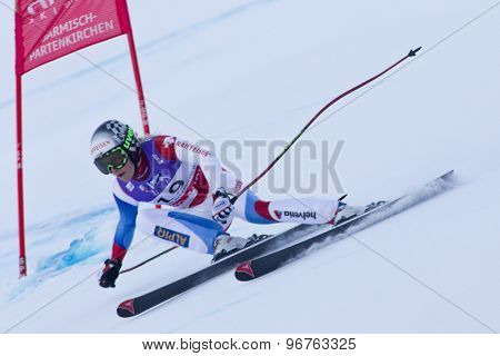 GARMISCH PARTENKIRCHEN, GERMANY. Feb 08 2011: Lara Gut (SUI) whilst competing in the women's super giant slalom race at the 2011 Alpine skiing World Championships