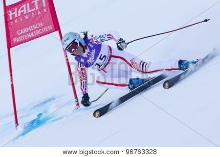 GARMISCH PARTENKIRCHEN, GERMANY. Feb 08 2011: Marie Marchand-Arvier (FRA) whilst competing in the women's super giant slalom race at the 2011 Alpine skiing World Championships