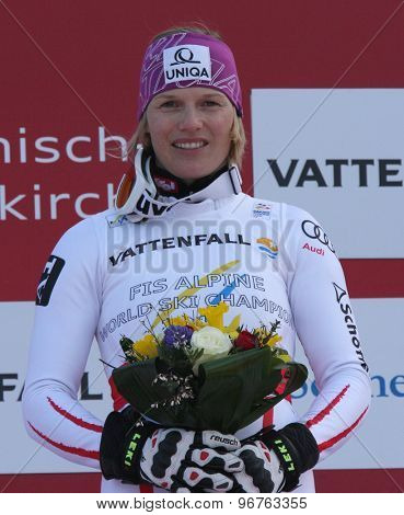 GARMISCH PARTENKIRCHEN, GERMANY. Feb 19 2011: Race winner Marlies Schild (AUT) during the flower ceremony in the finish area of the women's slalom race , at the 2011 Alpine skiing World Championships
