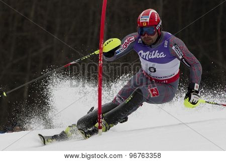 GARMISCH PARTENKIRCHEN, GERMANY. Feb 19 2011: Julien Cousineau (CAN)  competing in the mens  slalom race , at the 2011 Alpine skiing World Championships
