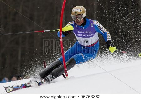 GARMISCH PARTENKIRCHEN, GERMANY. Feb 19 2011: Mattias Hargin (SWE)  competing in the mens  slalom race , at the 2011 Alpine skiing World Championships