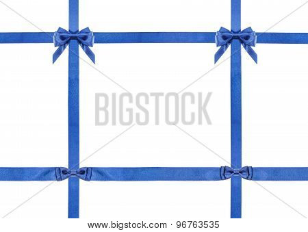 Blue Satin Bows And Ribbons Isolated - Set 29