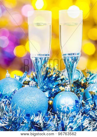 Glasses, Blue Xmass Balls On Blurry Background
