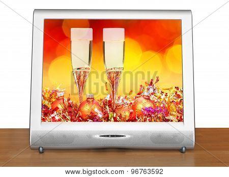 Orange Balls And Glasses On Screen Of Tv Set