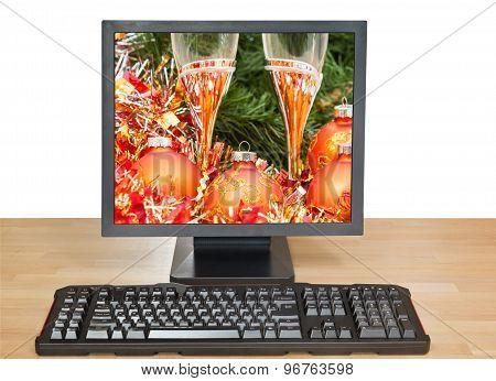 Orange Baubles And Glasses On Desktop Pc