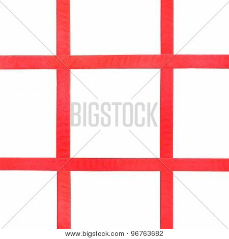 Red Satin Ribbons On White