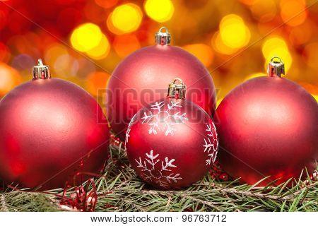 Xmas Red Balls And Tree On Orange Background