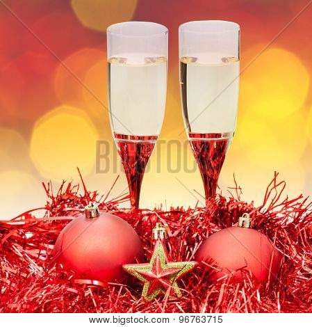 Glasses Star Red Xmass Baubles On Blur Background