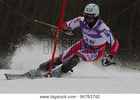 GARMISCH PARTENKIRCHEN, GERMANY. Feb 19 2011: Filip Trejbal (CZE)  competing in the mens  slalom race , at the 2011 Alpine skiing World Championships