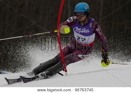 GARMISCH PARTENKIRCHEN, GERMANY. Feb 19 2011: Akira Sasaki (JPN)  competing in the mens  slalom race , at the 2011 Alpine skiing World Championships