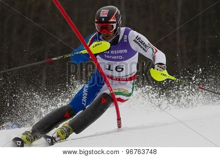 GARMISCH PARTENKIRCHEN, GERMANY. Feb 19 2011: Cristian Deville (ITA)  competing in the mens  slalom race , at the 2011 Alpine skiing World Championships