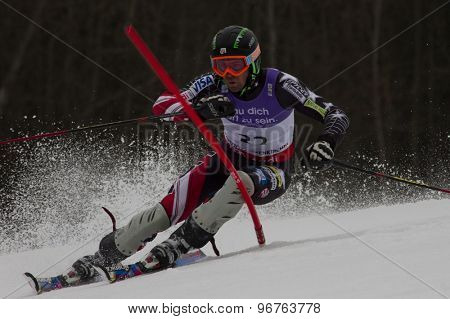 GARMISCH PARTENKIRCHEN, GERMANY. Feb 19 2011: David Chodounsky (USA)  competing in the mens  slalom race , at the 2011 Alpine skiing World Championships