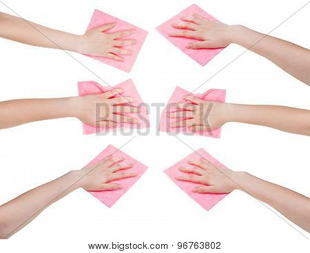Set Of Hands With Pink Fabric Rags Isolated
