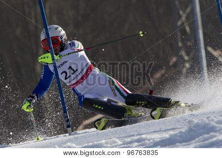 GARMISCH PARTENKIRCHEN, GERMANY. Feb 19 2011: Nicole Gius (ITA) competing in the women's slalom race , at the 2011 Alpine skiing World Championships
