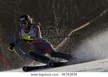 GARMISCH PARTENKIRCHEN, GERMANY. Feb 19 2011: Anna Goodman (CAN) competing in the women's slalom race , at the 2011 Alpine skiing World Championships